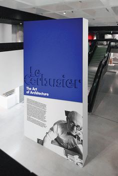 Bright blue and white entrance to an exhibit