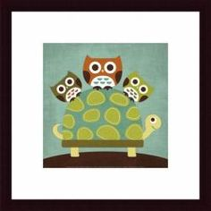 Artist: Nancy Lee Title: Three Owls on Turtle Product type: Framed print Style: Children Format: Square Size: Small Subject: Contemporary Frame: Black Matte: White Image dimensions: 12 inches high x 1