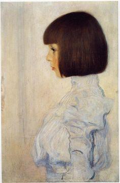 Portriat of Helene Klimt. Gustav Klimt. 1898 - what a great portrait done in his style. #klimt #portraiture #portrait #faces #hair #style #fashion #art #greatart #masterartists