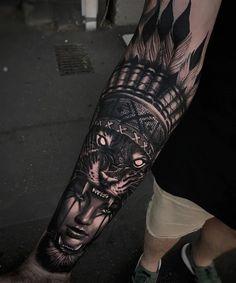 Perfect black and grey tattoo of Wild Girl motive done by tattoo artist Harrison Daniel from Perth, Australia Lion Head Tattoos, Cool Forearm Tattoos, Dope Tattoos, Badass Tattoos, Leg Tattoos, Body Art Tattoos, Tattoos For Guys, Leg Sleeve Tattoo, Leg Tattoo Men