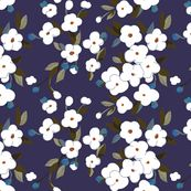 Wallpaper, fabric, or wrapping paper at spoonflower.com | White Flowers on Charred VIolet by glimmericks
