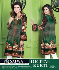 SAFWA WOMEN APPAREL BRAND - Pakistani dresses - Collections of summer and winter designer dresses, Pret shirts, kurtis, tops, 2 piece and 3 pieces dresses. Shop now Cash on Delivery. Kurti Collection, Summer Collection, Printed Kurti, 3 Piece Suits, Pakistani Dresses, Designer Dresses, Shop Now, Brand New, Summer Dresses