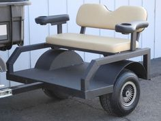 Golf Cart Discover Our new tram trailers are highly customizable in terms of wheels tires colors accessories and more. Homemade Trailer, Trailer Diy, Trailer Build, Passengers Trailer, Utv Trailers, Atv Attachments, Diy Go Kart, Custom Golf Carts, Utility Trailer