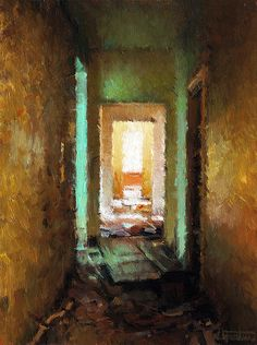 """Nicolas Martin """"Hallway"""" Oil on Linen 6 by 8 Inches SOLD"""