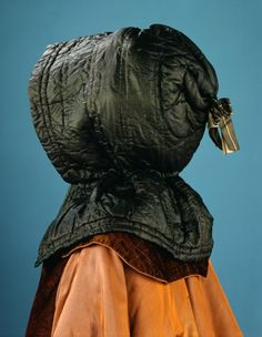Woman's Hood, circa 1775 Costume/clothing accessory/headwear, Silk sarsanet, 23 x 16 in. x cm) Gift of Mrs. Willard Larson Costume and Textiles Department. 18th Century Dress, 18th Century Costume, 18th Century Clothing, 18th Century Fashion, Historical Costume, Historical Clothing, Rococo, Costume Collection, Period Outfit
