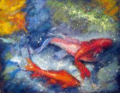 Pastel painting of Koi by Sharon Cave Koi, Cave, Pastel, Celestial, Artwork, Painting, Cake, Work Of Art, Auguste Rodin Artwork