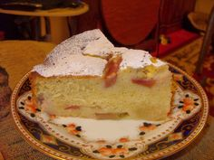 Rhubarb and custard cake. Now there's a duo of loveliness, embodied in a name. Firstly, rhubarb and custard - who can resist? Then, cak. Rhubarb And Custard, Custard Cake, Eating Well, No Cook Meals, Vanilla Cake, Baked Goods, Deserts, Favorite Recipes, Baking