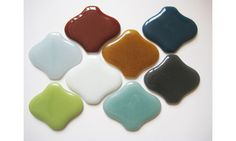 """recycled glass tiles - LOVE this """"Ogee Lantern"""" shape, and it comes in 800 different colors. WOW."""
