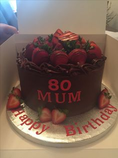 Chocolate fudge cake topped with Strawberries