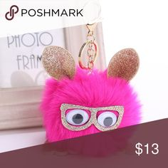 Sparkly Owl Pom Pom Key Chain - Hot Pink These super cute owl keychains are sure to catch eyes! Little owls wearing sparkly glasses! Key ring is a golden color.  Materials: Faux Fur Size: Pom Pom is 4.5 inches Wide, Key Chain is 4 inches long Atelier Sona Accessories Key & Card Holders