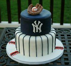 New York Yankees baseball theme fondant grooms cake. Baseball Birthday Cakes, Baseball Party, Baseball Cakes, Baseball Star, Sports Birthday, Boy Birthday, Beautiful Cakes, Amazing Cakes, Yankee Cake