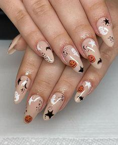 Holloween Nails, Cute Halloween Nails, Halloween Acrylic Nails, Halloween Nail Designs, Cute Acrylic Nails, Art Nails, Autumn Nails Acrylic, Peach Acrylic Nails, Shellac Nail Art