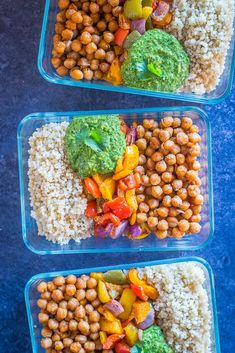 Chickpea Fajita Meal Prep Bowls with Cilantro Lime Pesto – She Likes Food – fitness meal prep Healthy Vegetarian Meal Plan, Veggie Meal Prep, Vegetarian Meal Prep, Lunch Meal Prep, Meal Prep Bowls, Vegetarian Recipes, Healthy Recipes, Vegan Meals, Vegan Vegetarian