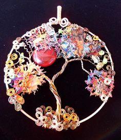 Tree of Life Suncatcher with copper wire, copper splash and stones