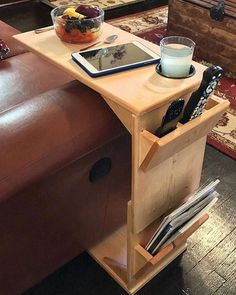 This adjustable height, handmade wooden couch tray table is a highly functional piece of furniture for the person for whom convenience is very importa. Woodworking Organization, Woodworking Workbench, Woodworking Projects, Workbench Plans, Youtube Woodworking, Woodworking Furniture, Organization Ideas, Garage Workbench, Storage Ideas
