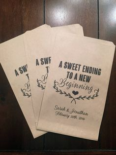 A Sweet Ending to a New Beginning Wedding Favor Bags