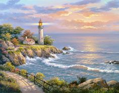 Diamond Painting Sunset Seaside Lighthouse Scenery Paint with Diamonds Art Crystal Craft Decor Belle Image Nature, Simple Oil Painting, Painting Prints, Art Prints, Lighthouse Painting, Diamond Art, Crystal Diamond, 5d Diamond Painting, Landscape Paintings