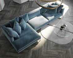 10 Quick Wins in Furniture Arrangement Living Room Sofa Design, My Living Room, Home And Living, Living Room Designs, Living Room Furniture, Living Room Decor, Blue Velvet Sofa Living Room, Blue Couches, Mid Century Furniture