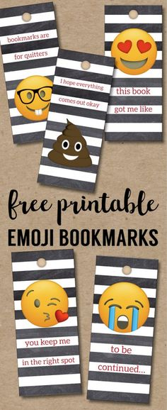 Emoji Bookmarks - Free Printable Bookmarks. DIY Free printable Valentine's Day bookmarks or back to school printable bookmarks for reading. #papertraildesign #emoji #freeprintables #emoji #diyemoji