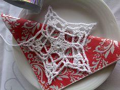Star in a Star Ornament pattern by Julie A Bolduc Crochet Angels, Crochet Stars, Crochet Snowflakes, Star Ornament, Snowflake Ornaments, Hanging Ornaments, Crochet Christmas Ornaments, Christmas Crafts, Xmas