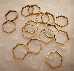 12 pieces of vintage cut raw brass tube outline charm in hexagon shape geometric art deco 17.5mm