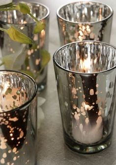 Silver Mercury Glass Candle Holder Pack of 4