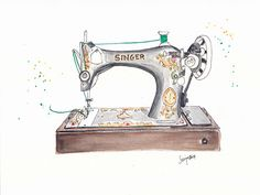 Vintage Singer Sewing Machine  Art Print