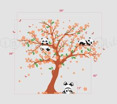 Panda Wall Decal Panda and Cherry Blossom Tree by InAnInstantArt