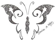 Lace Tattoo Designs - Butterfly & Stars by Denise A. Wells June 20, 2010 en Girly Tattoo Designs by Denise A. Wells de Denise Wells
