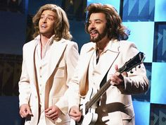 talkin it up, on the barry gibb talk show! Jimmy Fallon and Justin Timberlake.  Funny stuff.
