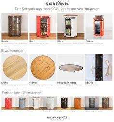 4 Varianten der Öl Fass Möbel - 4 ways to cusomize Lockengelöt´s oil drum furniture. http://www.lockengeloet.com
