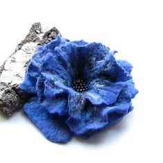 Felted Flower Brooch  BLUE Large Flower Pin by AlbadoFashion, $39.00