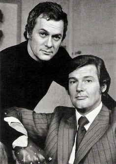 The Persuaders, Roger Moore, Tony Curtis, actor, male, portrait, black and white, De uheldige helte, gentleman, cool, hot, sexy