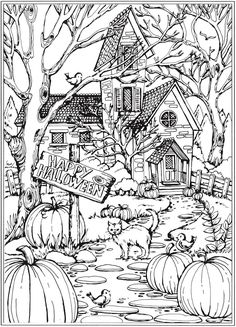 Autumn Scenes Coloring Book Sample 01 Fall Coloring Pages Fall Coloring Sheets, Halloween Coloring Sheets, Fall Coloring Pages, Adult Coloring Book Pages, Printable Adult Coloring Pages, Coloring Pages To Print, Coloring For Kids, Coloring Books, Halloween Coloring Pictures