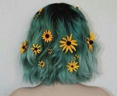 Turquoise dip dyes hair style flowers Tumblr hipsters aesthetics