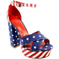 WOMENS BLOCK HEEL AMERICAN FLAG ANKLE STRAP HIGH PLATFORM SHOE BLUE SANDALS 3-8 | eBay