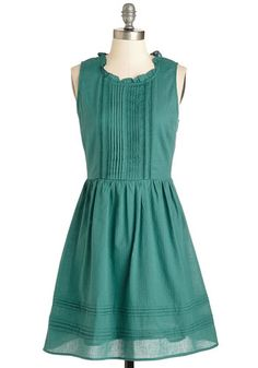 Don't You Agree? Dress. The deep sea-green color of this cute cotton dress is quite charming, dont you think? #green #modcloth