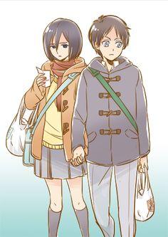 "rivaillexmikasa: ""Modern Eren x Mikasa """