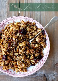 cranberry cacao nib granola muesli... substituted the cacao nibs for 1/4 cup cacao powder, nixed the chia seeds and added sesame.  Yum!