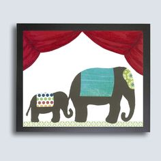 Circus Nursery Art PRINT - 11x14 Mom and Baby Elephant, Childrens Decor, Kids Wall Art, Vintage Circus Art, Elephant Nursery Decor, Baby Ar. $25.00, via Etsy.