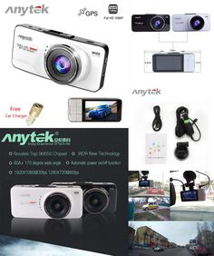 [Visit to Buy] Anytek AT66A Car DVRS Auto Camera Recorder Hidden Dvr Dash Cam Full HD 1080P Video 170 Degree 2.7 Screen Car Detector GPS Night #Advertisement
