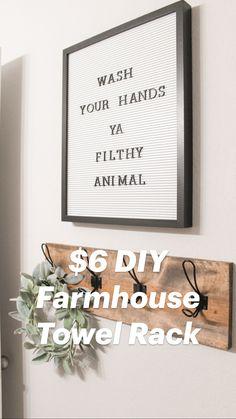 $6 DIY Farmhouse Towel Rack