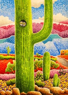 Two elf owls peek out from their nest in a giant saguaro in the U. Woodpeckers punch out the holes that are later inhabited by a large variety of wildlife. Cactus Drawing, Cactus Art, Cactus Painting, Elf Owl, Polymer Clay Painting, Mexican Artwork, Cactus Pictures, Desert Art, Desert Life