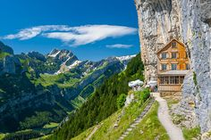 This 170-Year-Old Swiss Guesthouse Built Into The Side Of A Mountain Is Best Accessed By A Cable Car