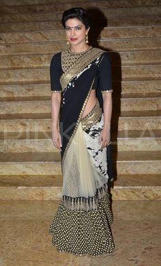 Priyanka in Black saree #saree #sari #blouse #indian #hp #outfit #shaadi #bridal #fashion #style #desi #designer #wedding #gorgeous #beautiful