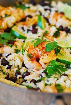 "Cilantro-Lime Black Bean Shrimp and Rice (can sub out rice w/cauli""rice"" for grain free/no carbs/extra green on 21 DF)"