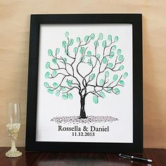 Personalized Fingerprint Painting Canvas Prints - Tree Pattern (Includes 6 Ink Colors And Frame) – AUD $ 45.03