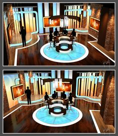 "Design by Kevin Vickers - A concept talk show based out of Las Vegas. In the spirit of ""The View"", a morning show discussing topics of the day on a more localized level, along with celebrity guests and hosts, and live performances by local musicians. Bühnen Design, Tv Set Design, Stage Set Design, Sound Design, Studio Design, Plateau Tv, Tv Set Up, Virtual Studio, Green Screen Backgrounds"