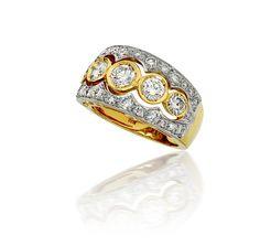 Bezel Set and Pave #DiamondRing in 18k Two Tone (2.25ct. tw.) #delicategem #jewelry #diamondSale