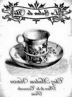 French Tea graphic reversed and ready for transfer. Print to desired size on a laser printer and use Artisan Enhancements Transfer Gel! Foto Transfer, Transfer Paper, Collages D'images, Diy Image, French Typography, Images Vintage, Decoupage Paper, Monochrom, Digi Stamps